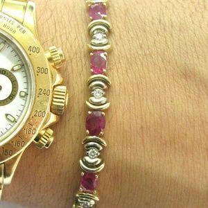 Jewelry - Natural Oval Ruby Diamond Yellow Gold Tennis Brace